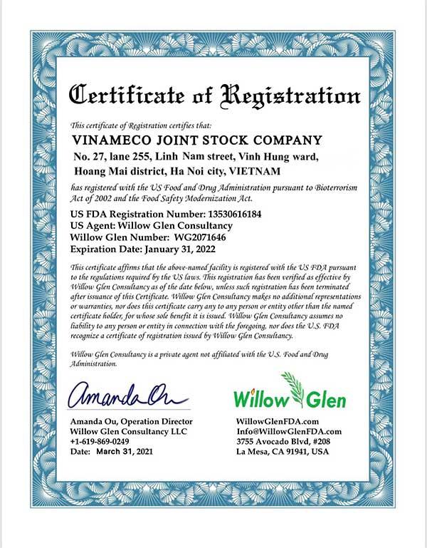 Chứng nhận FDA của sữa VINLAC