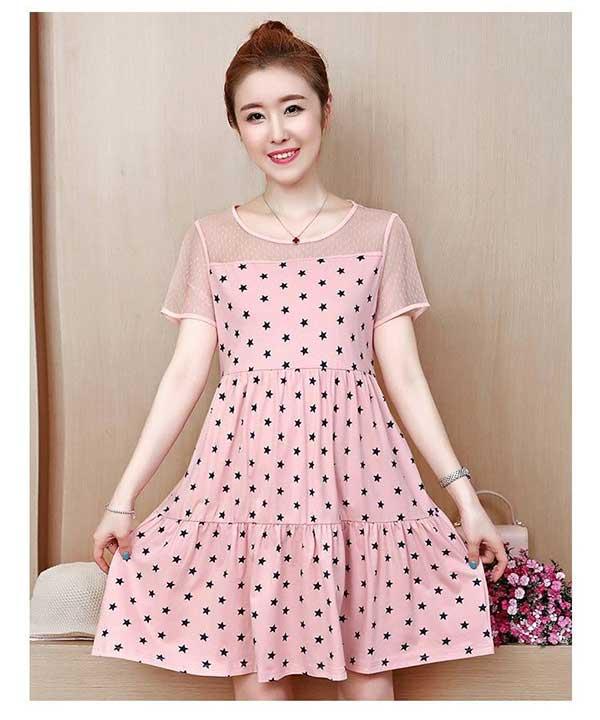 Đầm bầu công sở dáng xòe nữ tính hồng