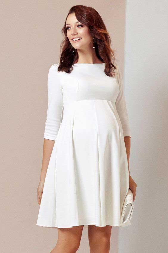 Váy bầu dự tiệc trắng