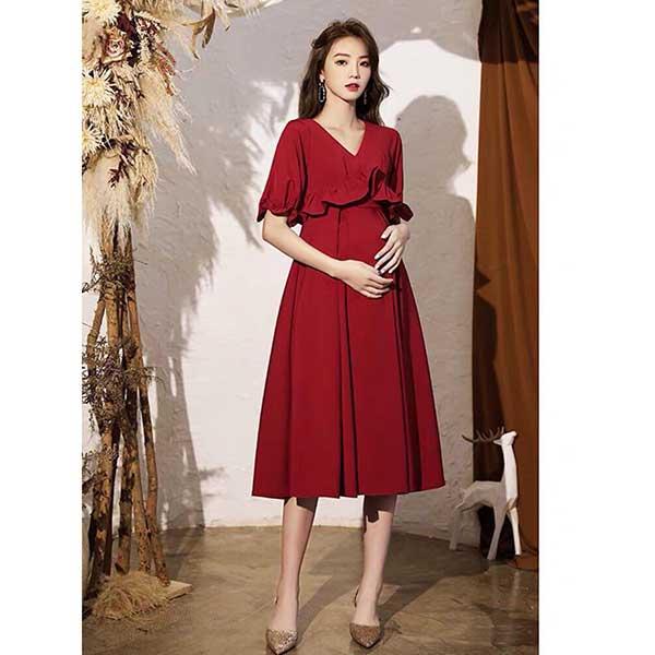 Váy bầu dự tiệc đỏ